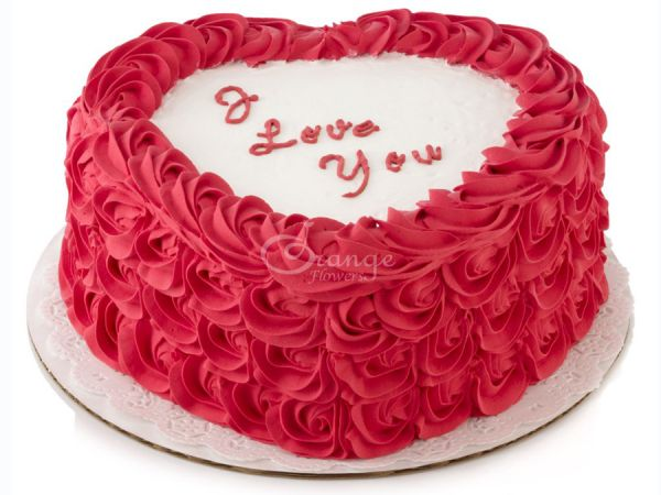 Only 275 Aed For I Love You Cake Orange Flowers