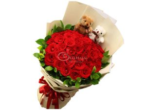 teddy red rose Bouquet